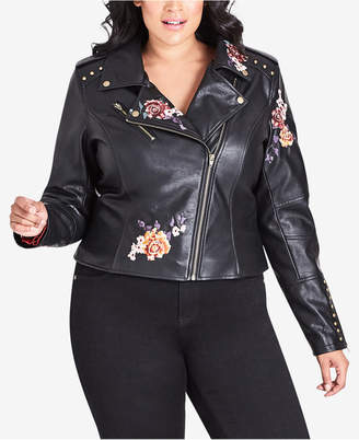 City Chic Trendy Plus Size Embroidered Faux-Leather Moto Jacket