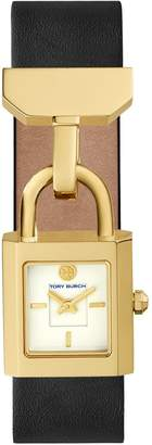 Tory Burch SURREY WATCH, BLACK LEATHER/GOLD-TONE, 22 x 23.5 MM
