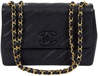 One Kings Lane Vintage Chanel Black Caviar Diagonal Jumbo Bag - Vintage Lux