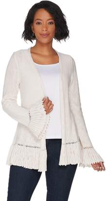 Logo By Lori Goldstein LOGO by Lori Goldstein Slub Open Front Cardigan with Ruffle Detail