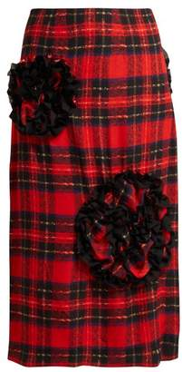 Simone Rocha Lace Trimmed Rosette Georgette Midi Skirt - Womens - Red