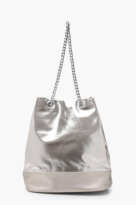 boohoo Metallic Chain Handle Shopper