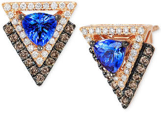 LeVian Neo Geo Collection Le Vian Tanzanite (4/5 ct. t.w.) and Diamond (1/2 ct. t.w.) Geometric Stud Earrings in 14k Rose Gold, Created for Macy's