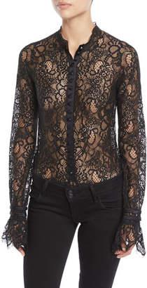 Jonathan Simkhai Mixed Lace Long-Sleeve Button-Front Bodysuit