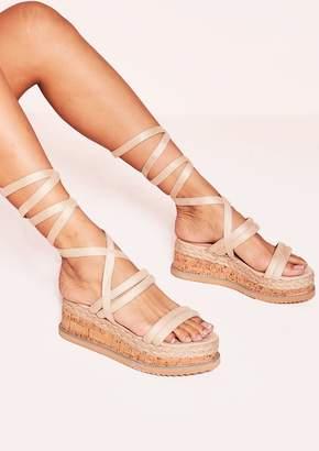 f20344a6368 Missy Empire Missyempire Flossie Beige Faux Suede Platform Sandals