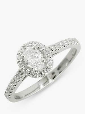 EWA Platinum Oval Diamond Cluster Engagement Ring, 0.68ct