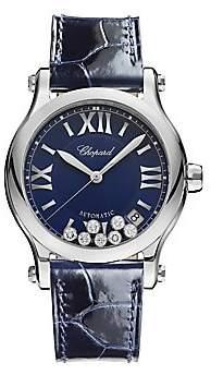 Chopard Women's Happy Sport Diamond, Stainless Steel & Leather Strap Watch