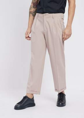 Emporio Armani Stretch Wool Pants With Front Pleats