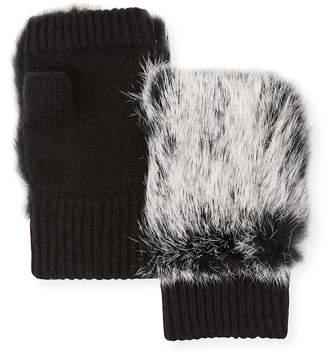 Adrienne Landau Fingerless Wool-Blend Gloves w\/ Fur