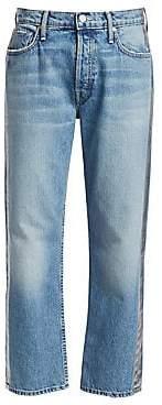 Mother Women's Thrasher Loose Crop Metallic Stripe Jeans