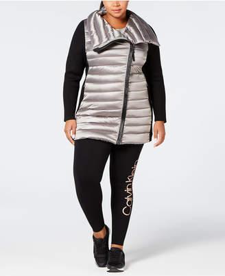 Calvin Klein Plus Size Insulated Metallic Walker Coat