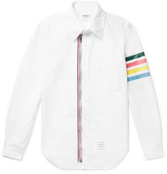 Thom Browne Button-down Collar Striped Cotton Oxford Shirt - White