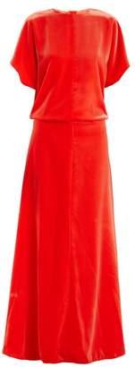 Valentino Round Neck Velvet Gown - Womens - Coral