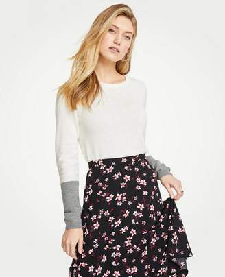 Ann Taylor Petite Colorblock Sleeve Sweater