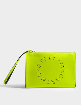 Free Returns At Monnier Freres Stella Mccartney Alter Na Logo Flap Zip Bag In Neon Yellow Eco Leather