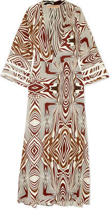 Melissa Odabash Loulou Crochet-trimmed Printed Poplin Maxi Dress - Brown
