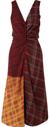 Acne Studios Patchwork Checked Wool-tweed And Crepe Dress - Burgundy