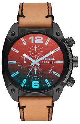 Diesel Mens Quartz-Chronograph Overflow Black IP and Brown Leather Watch