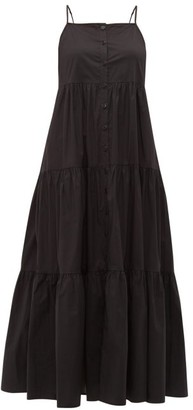 Sea Luna Tiered Cotton Blend Midi Dress - Womens - Black