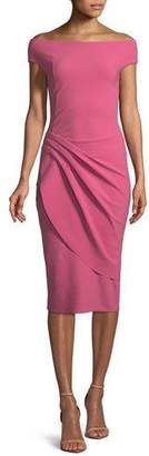 Chiara Boni Chiku Sheath Dress w/ Asymmetric Apron Skirt