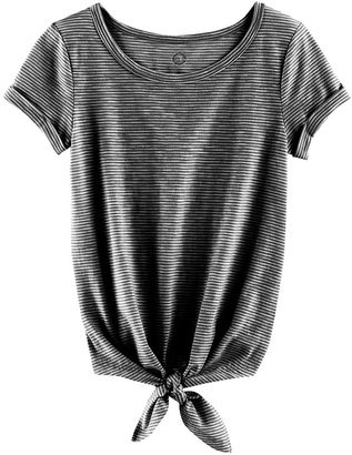 Girls 7-16 & Plus Size SO® Rolled Cuff Tie Front Tee $20 thestylecure.com