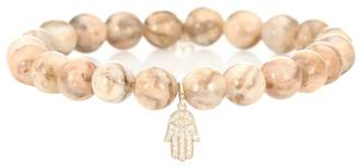 Sydney Evan Small Hamsa beaded feldspar bracelet with 14kt gold and diamond charm