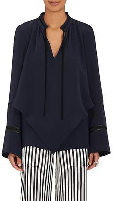 Derek Lam WOMEN'S SILK CREPE DOUBLE-LAYERED TIENECK BLOUSE