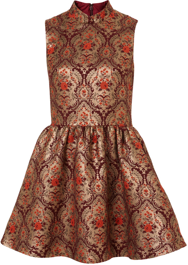 High Neck Jacquard Skater Dress
