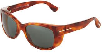Tom Ford Square Acetate Sunglasses, Light Brown