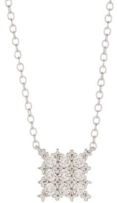 Argentovivo Sterling Silver Square CZ Pendant Necklace