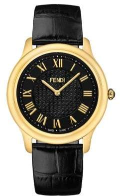 Fendi Large Classico Gold Tone and Leather Watch
