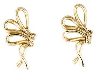 Oscar de la Renta Crystal Ribbon Clip-On Earrings