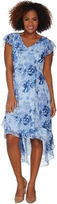 Halston H By H by Regular Rose Print Cap Sleeve Hi-Low Dress