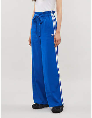 adidas Striped-trim wide recycled-polyester tracksuit trousers