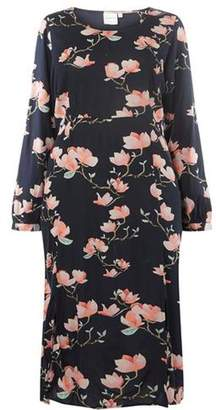 Dorothy Perkins Womens **Juna Rose Curve Navy Floral Midi Shift Dress