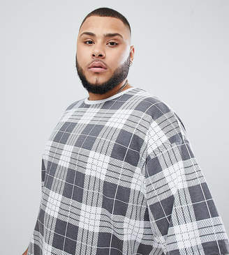 Asos DESIGN Plus oversized t-shirt with all over check print