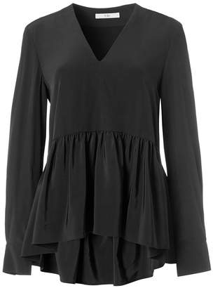 Tibi Silk Peplum Top in Black