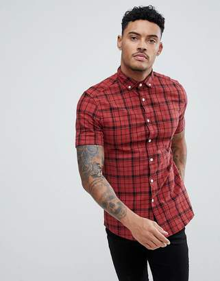 Asos Design DESIGN skinny twill check shirt in red