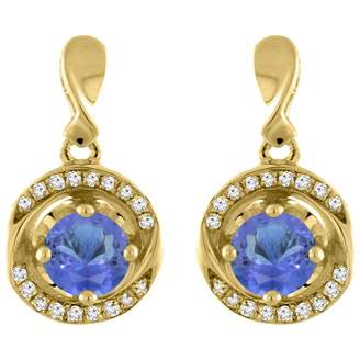 Sabrina Silver 14K Yellow Gold Natural Tanzanite Earrings with Diamond Accents Round 4 mm
