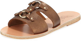 Ancient Greek Sandals Attiki Flat Metallic Leather Slide Sandal