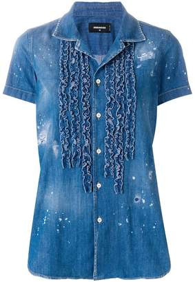 DSQUARED2 ruffled trim denim shirt