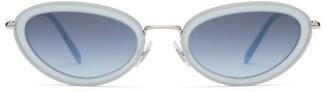 Miu Miu Oval Cat Eye Acetate Frame Sunglasses - Womens - Blue
