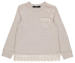 George Nude Soft Touch Knitted Lace Trim Top
