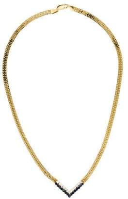 14K Diamond & Sapphire Chevron Collar Necklace