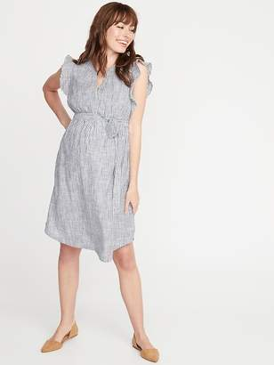 Old Navy Maternity Patterned Tie-Belt Shirt Dress