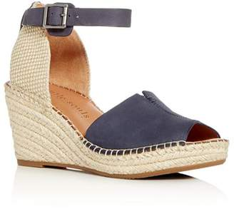 Kenneth Cole Gentle Souls by Gentle Souls Charli Nubuck Leather Ankle Strap Platform Wedge Sandals