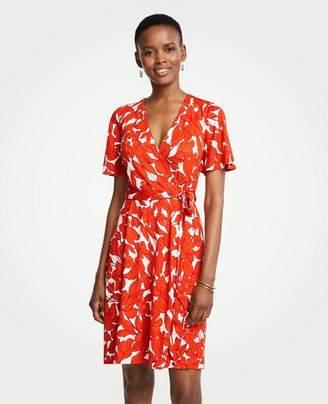 Ann Taylor Petite Iris Flutter Sleeve Wrap Dress