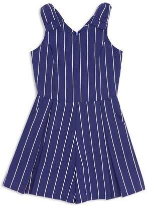 Leila Habitual Kids Girls' Striped Bow-Shoulder Romper - Big Kid