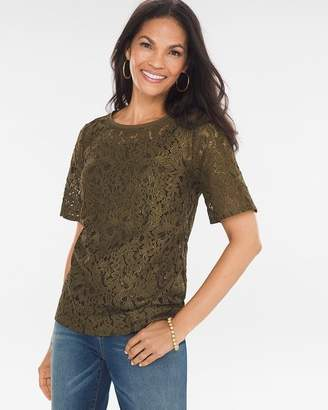 Chico's Petite Foiled Lace Top