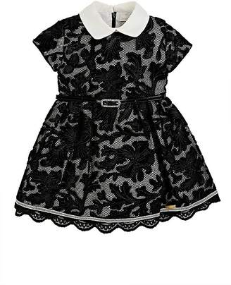 Barcarola Kids' Mesh & Floral Velvet Cap-Sleeve Dress